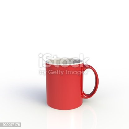 904387004 istock photo Red coffee cup isolated on white background. Close up with side view. Mock up Template for application design. Exhibition equipment. Set template for the placement of the logo. 3D rendering. 902097178