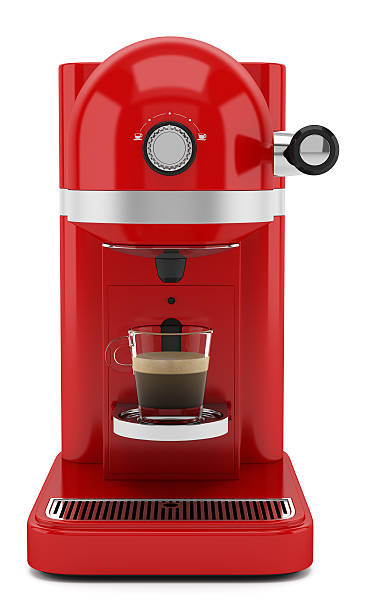 red coffee machine isolated on white background - coffee maker stock pictures, royalty-free photos & images