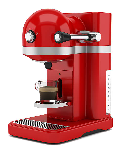 red coffee machine isolated on white background stock photo