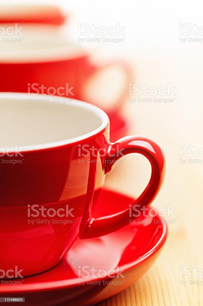 Red coffee mugs royalty-free stock photo