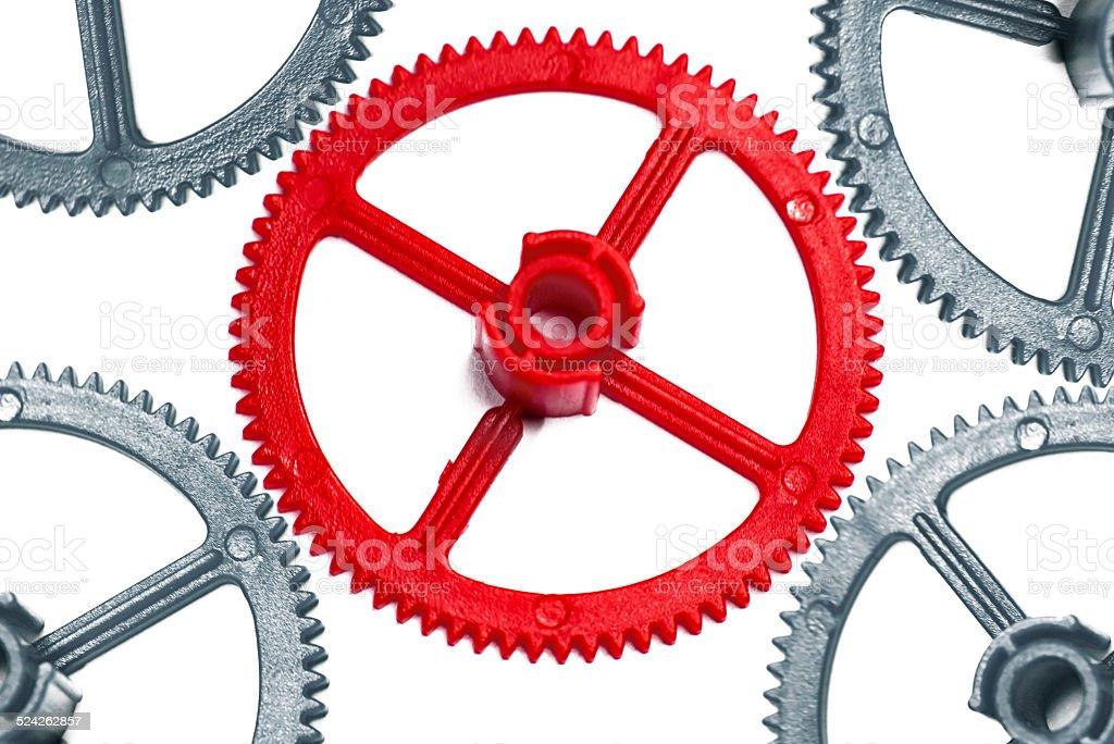 Red cogwheels stock photo