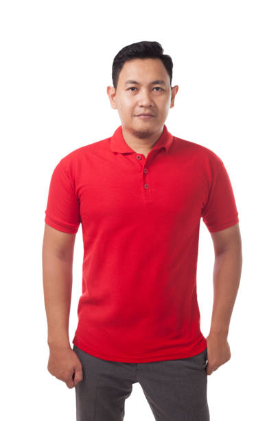 Red Collared Shirt Design Template Blank collared shirt mock up template, front view, Asian male model wearing plain red t-shirt isolated on white. Polo tee design mockup presentation for print. red shirt stock pictures, royalty-free photos & images