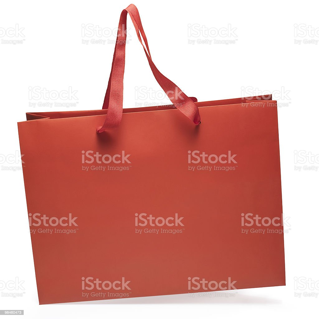 Red color bag side view. royalty-free stock photo