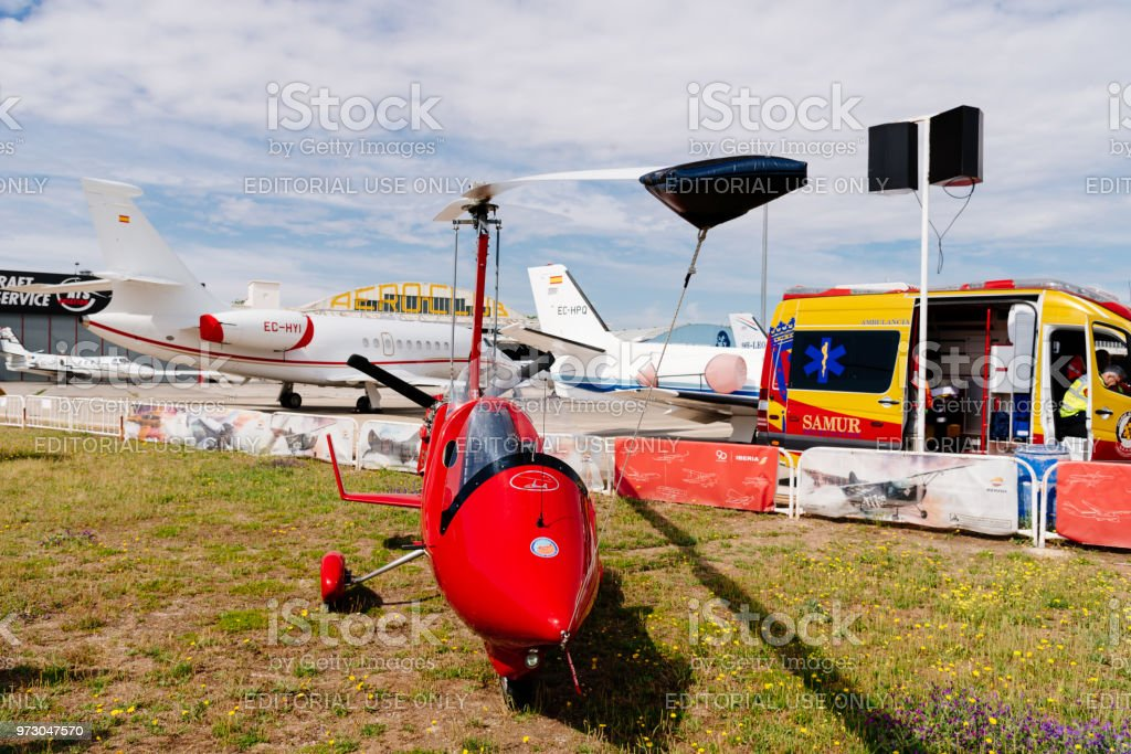 Red color ELA 07 autogiro during air show stock photo