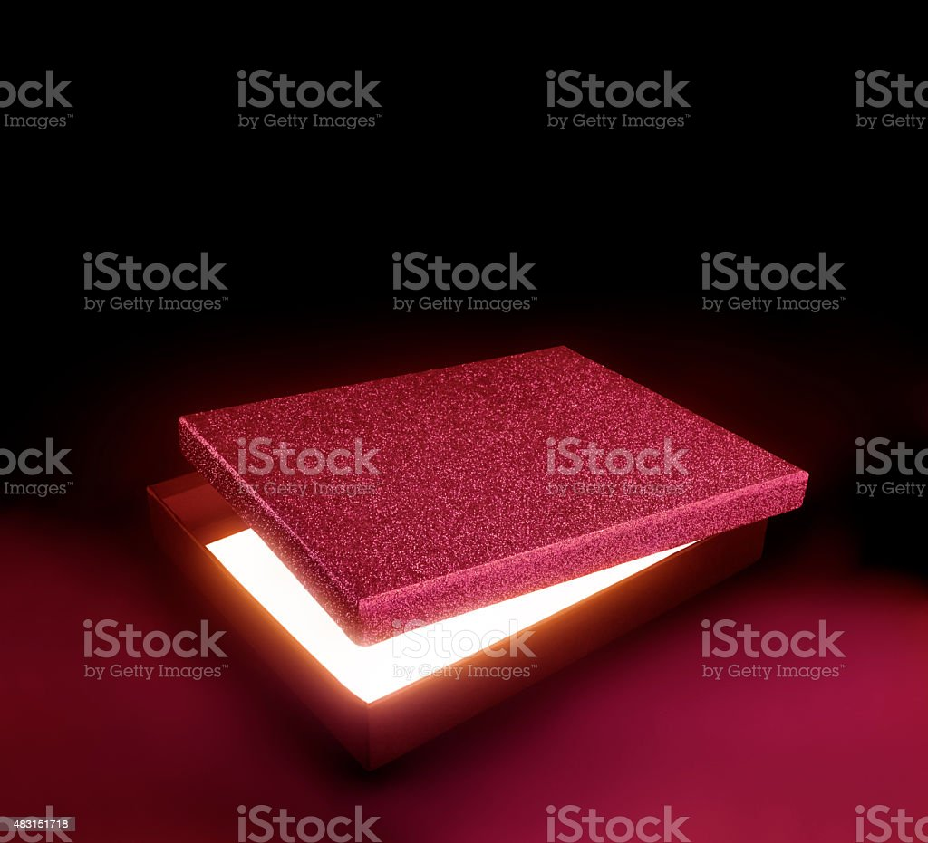 Red color gift box. stock photo