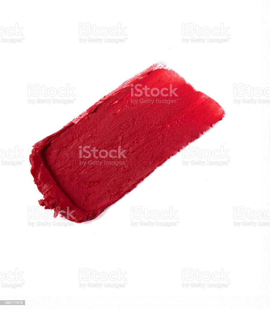 Rote Farbe Lippenstift Schlaganfall auf den Hintergrund – Foto