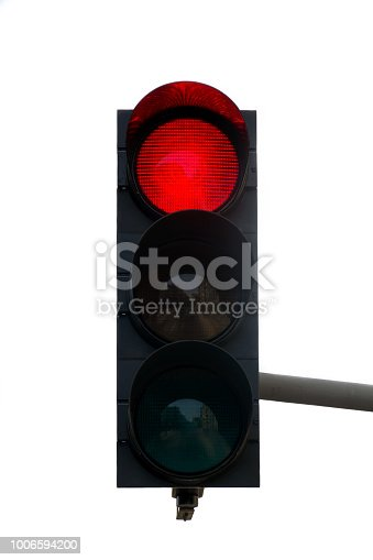 Traffic light with red color on a white background