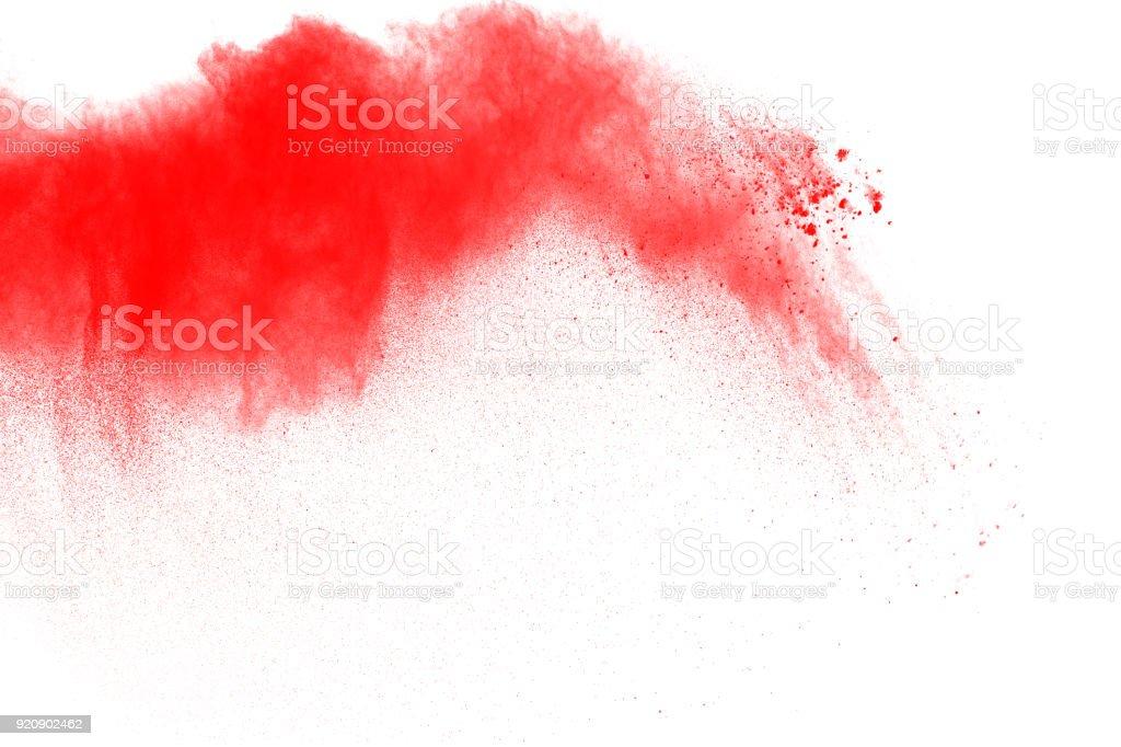 Rote Farbe Pulverexplosion Auf Weissem Hintergrund Lila Rot Wolke