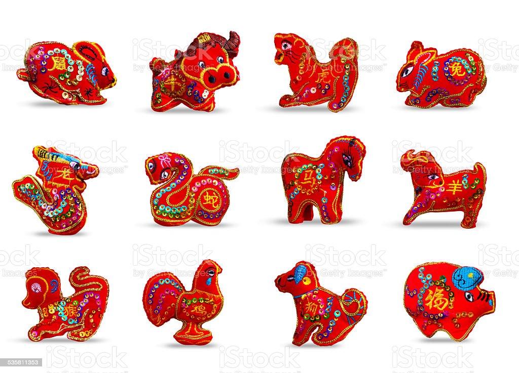 red color set twelve zodiacs stock photo