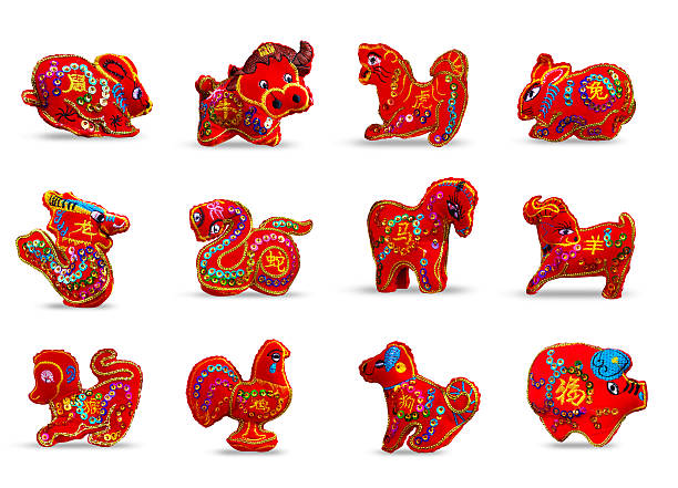 Couleur rouge ensemble de douze un Zodiac - Photo