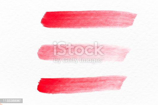 847999586 istock photo Red color watercolor handdrawing as line brush on white paper background 1133388961