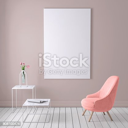 istock Red colored armchair with coffee table, flowers and blank poster template 908700474