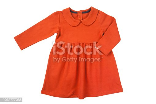 red colored baby girl dress  isolated on a white background