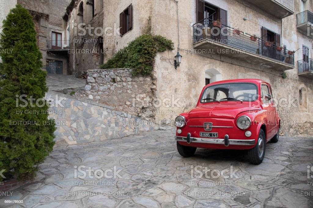 Red colored Classic car - foto stock