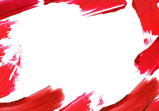 紅色的口紅腦卒中與空空間的邊界周圍。 - 舞台化妝 個照片及圖片檔