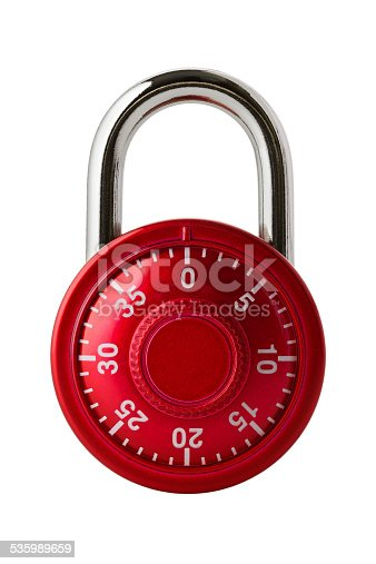 Objects: red combination lock, isolated on white background