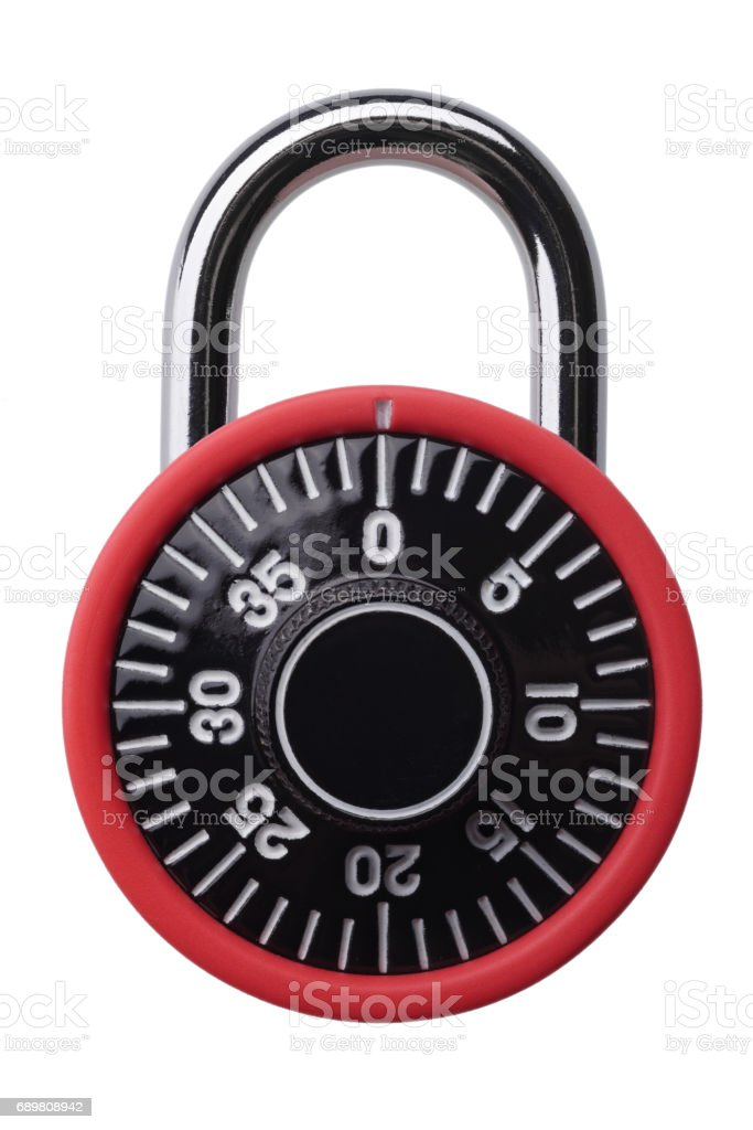Red combination padlock stock photo