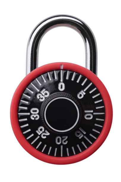 Red combination padlock stock photo