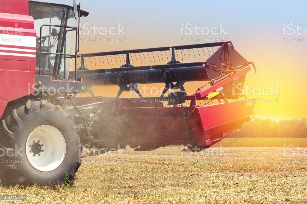 vermelho colheitadeira em um fundo por do sol da colheita de soja - foto de acervo