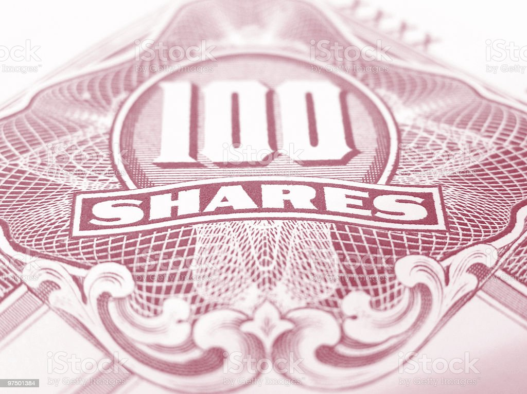 Red common stock certificate royalty-free stock photo