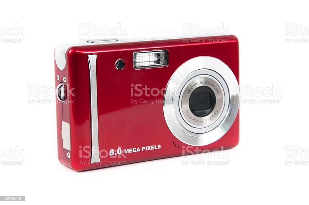 Red compact digital camera isolated on white stock photo