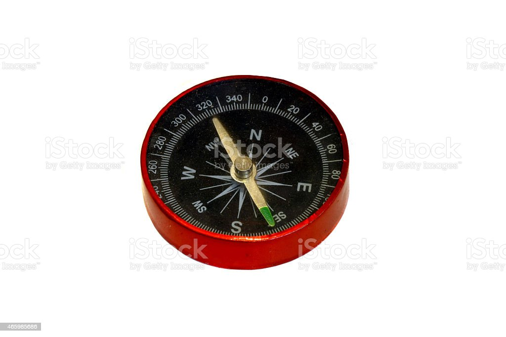 red compass isolated on white stock photo