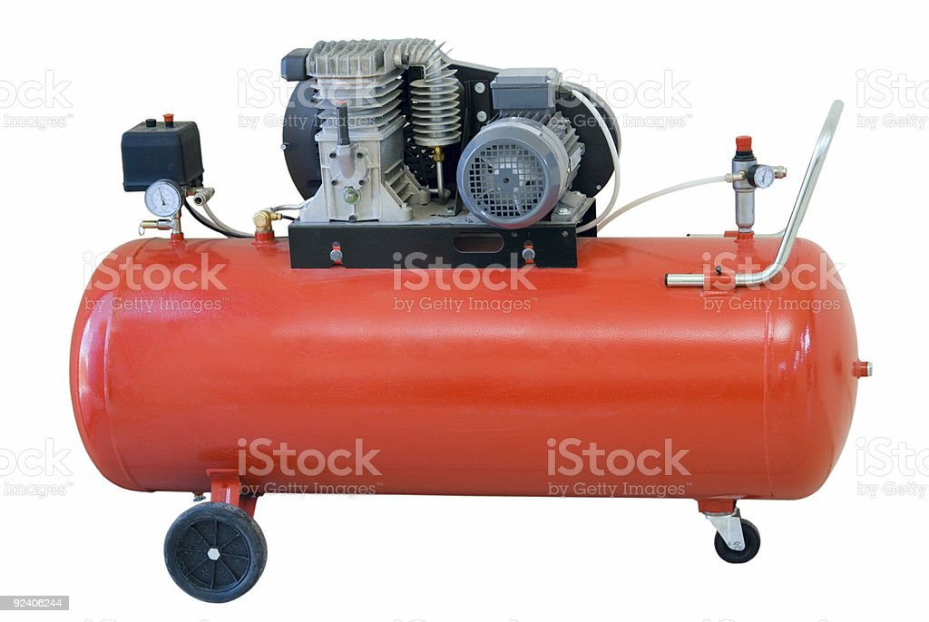 A red compressor on a white background stock photo