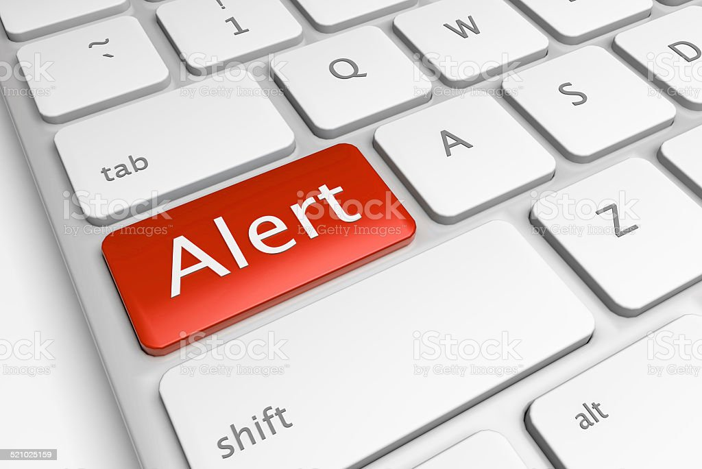 Red computer alert button stock photo