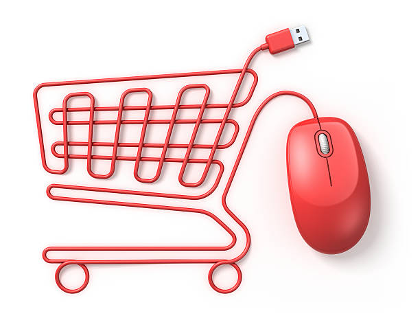 Rote computer-Maus Einkaufswagen – Foto