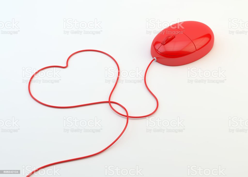 e2c066df8ce Red Computer Mouse With Heart Shape Cable On White Background - Stock image  .