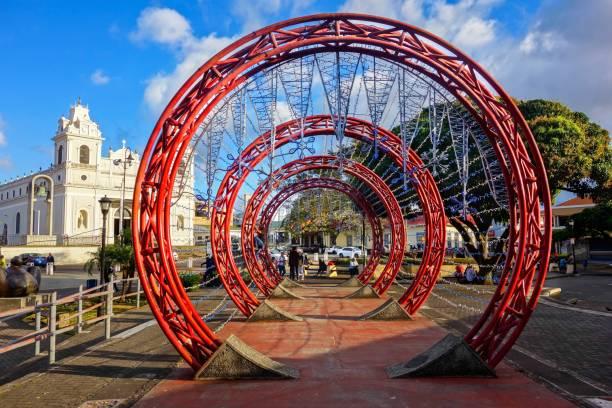 Red Concentric Circles Art at Plaza De Las Artes (Arts Square) near San Jose Costa Rica City Center stock photo