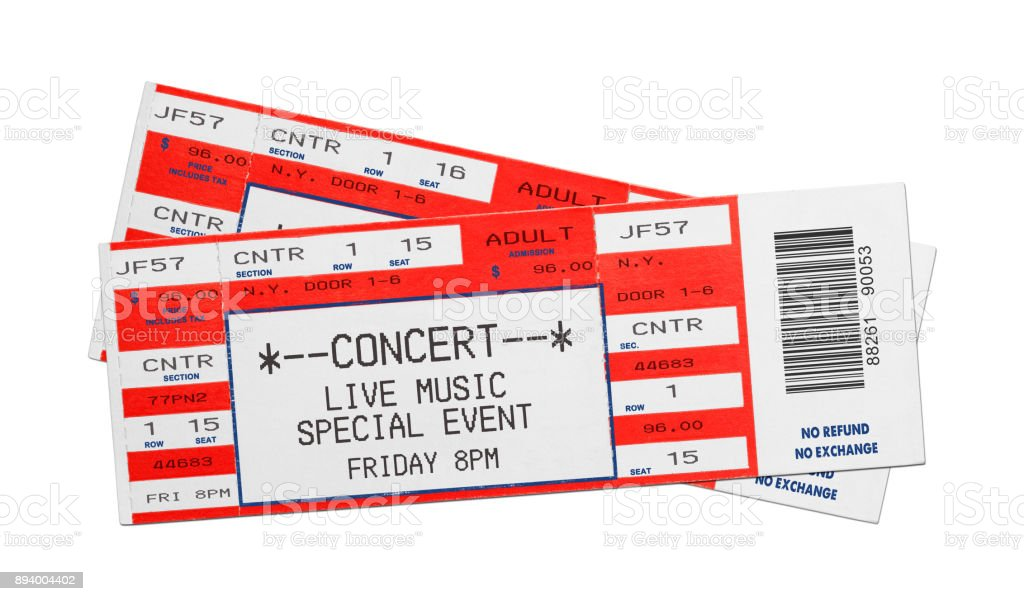 Red Concert Tickets stock photo