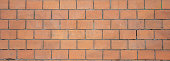 Bricks wall background texture, red brown color, cement, clay. Vintage wall, aged, banner