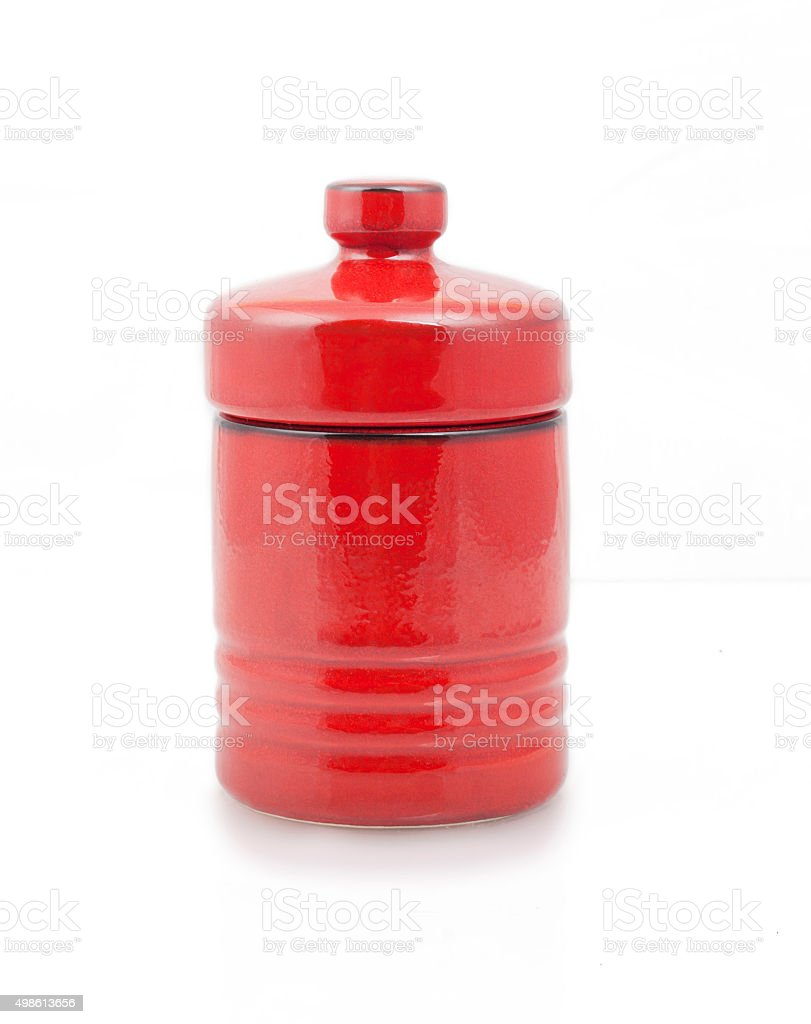 Red container for tea and coffee stock photo