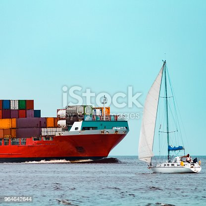 Red Container Ship Underway Stock Photo & More Pictures of Blue