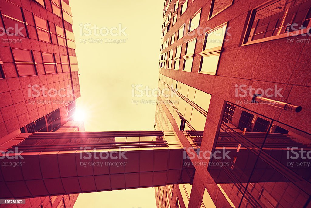 Red contemporary skyscraper perspective - HDR royalty-free stock photo