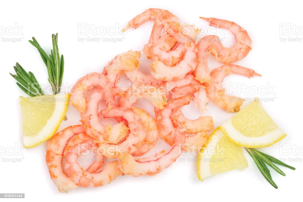 Red cooked prawn or shrimp with rosemary isolated on white background. Top view. Flat lay stock photo