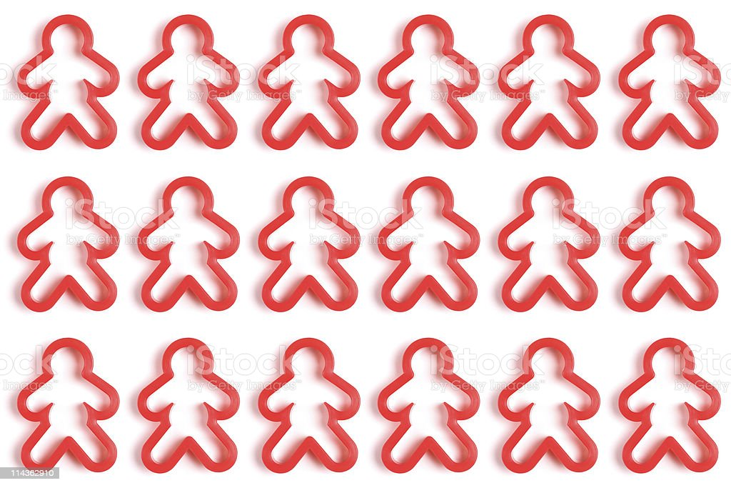 Red cookie cutter men stock photo