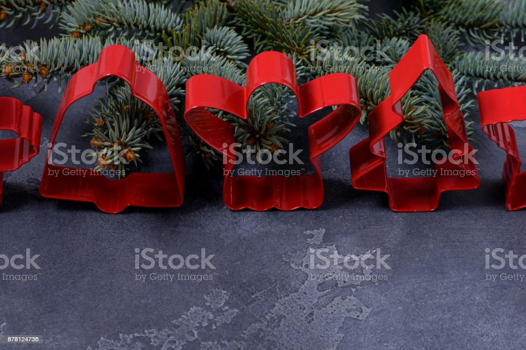 Red cookies cutters for gingerbread stock photo