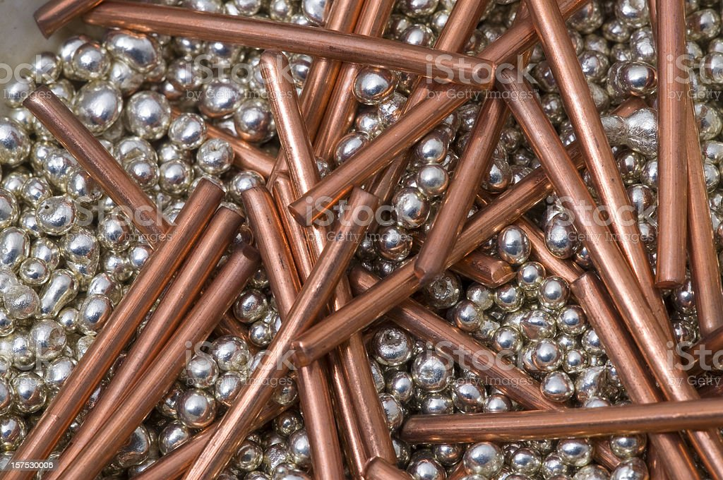red copper and silver pellets royalty-free stock photo