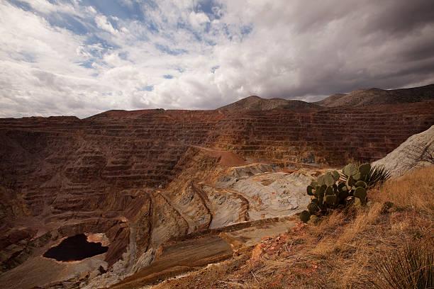 Red copper open pit mine stock photo