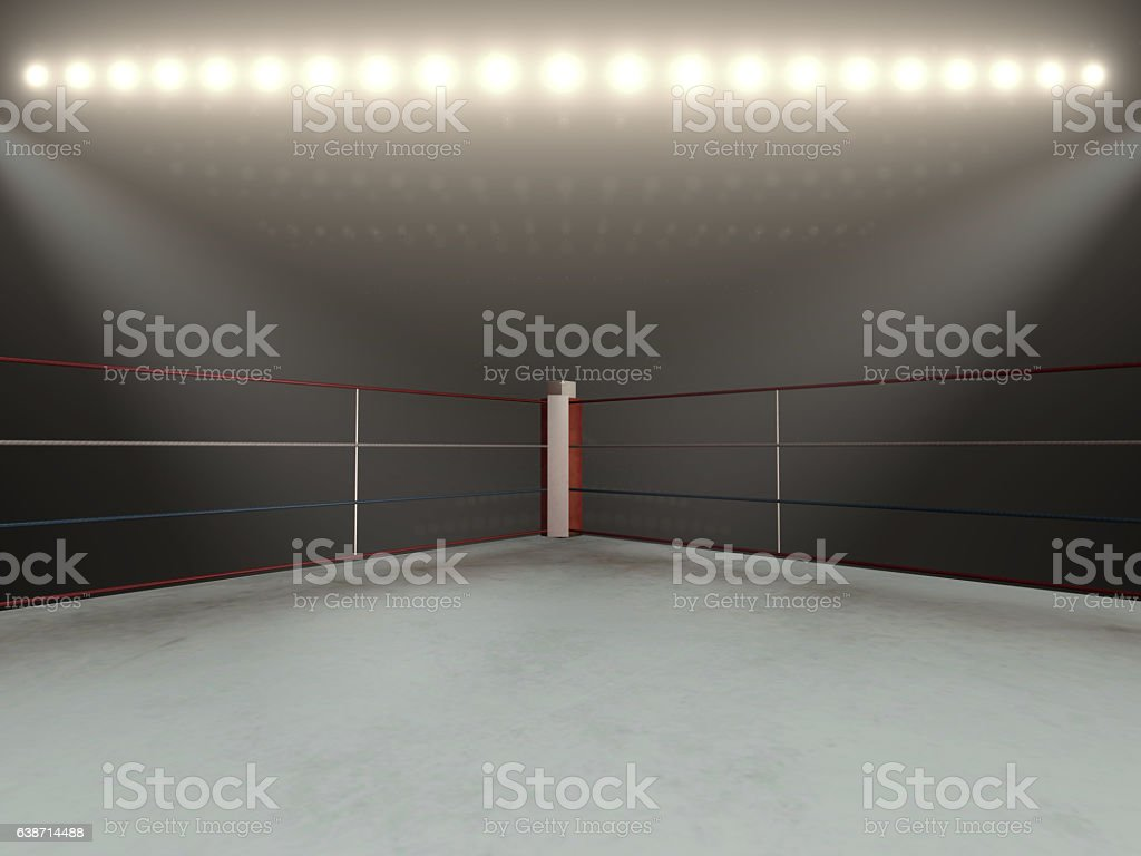 Red corner boxing ring - 3d render - foto de stock