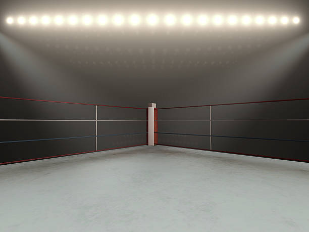 red corner boxing ring - 3d render - wrestling stock photos and pictures