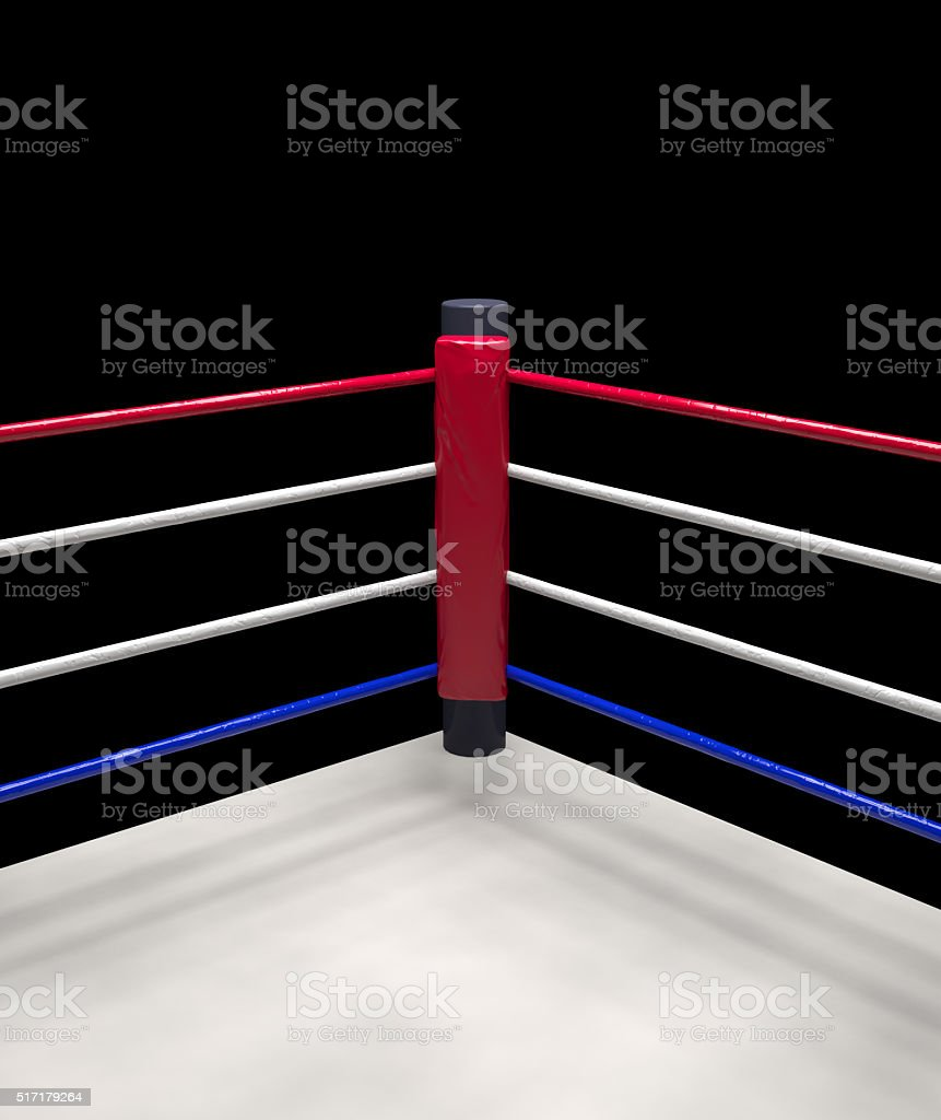 red corner boxing ring background 3d render stock photo