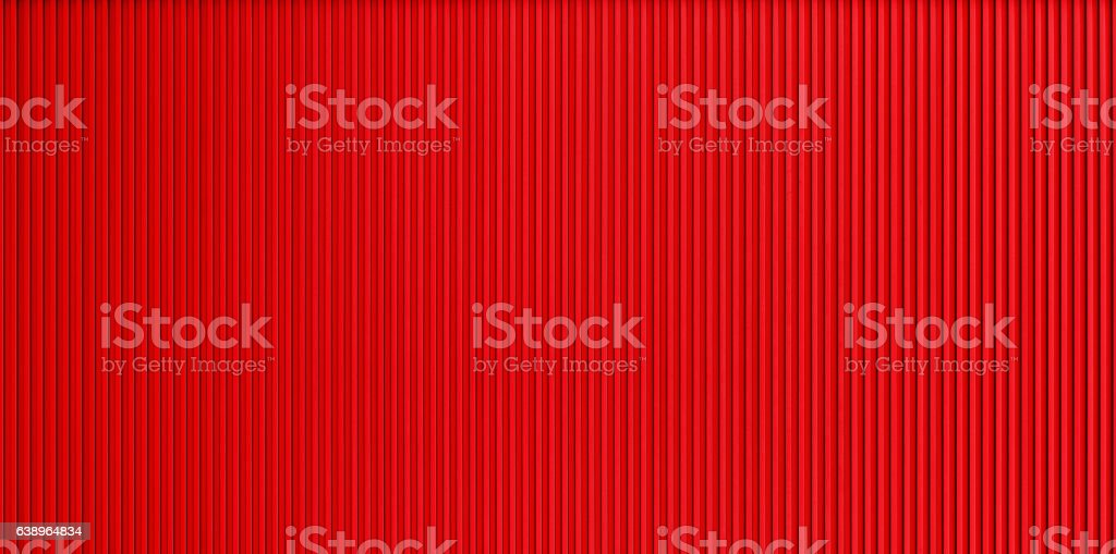 Red corrugated metal wall texture stock photo