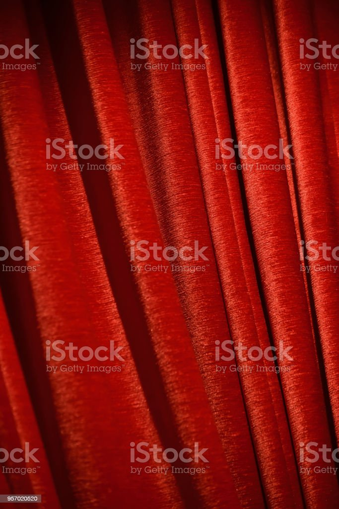 Red cotton made curtains isolated unique background photo stock photo