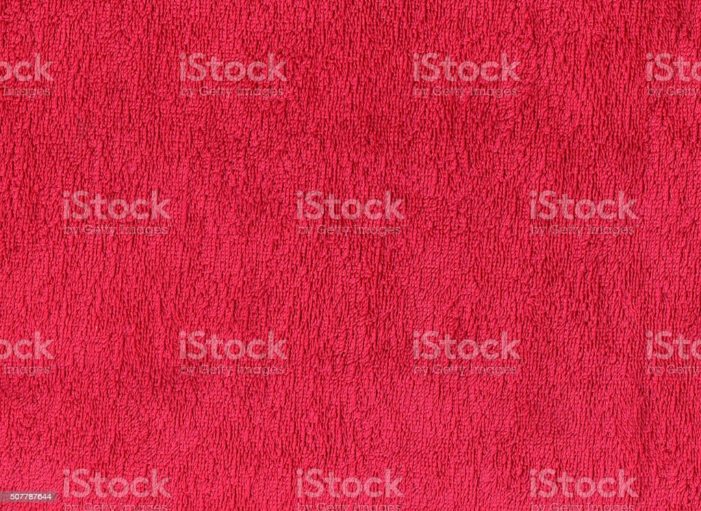 Red cotton towel texture. stock photo