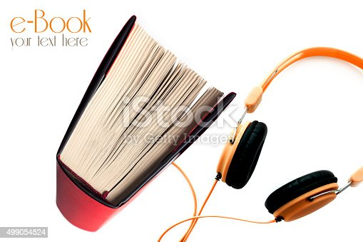 istock Red cover E-book on isolated background 499054524