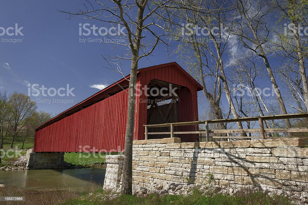Red covered bridge in rural Indiana royalty-free stock photo