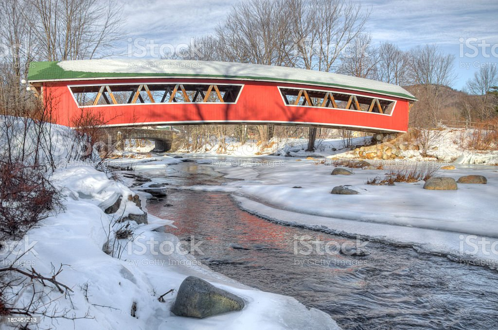 Red Covered bridge in the White Mountains stock photo